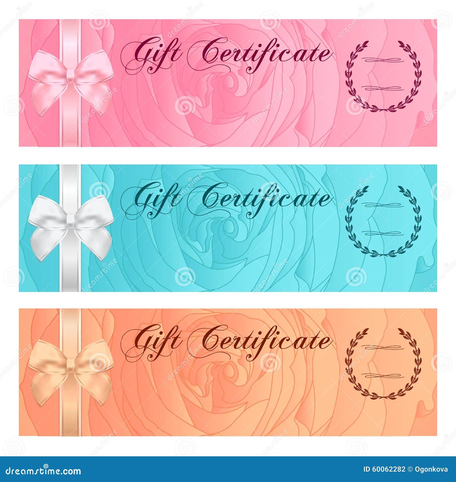 Gutschein-, Beleg-, Kupon-, Belohnungs- oder Gutscheinschablone mit rosafarbenem mit Blumenmuster, Bogen (Band) Rosen-Blumenhinte