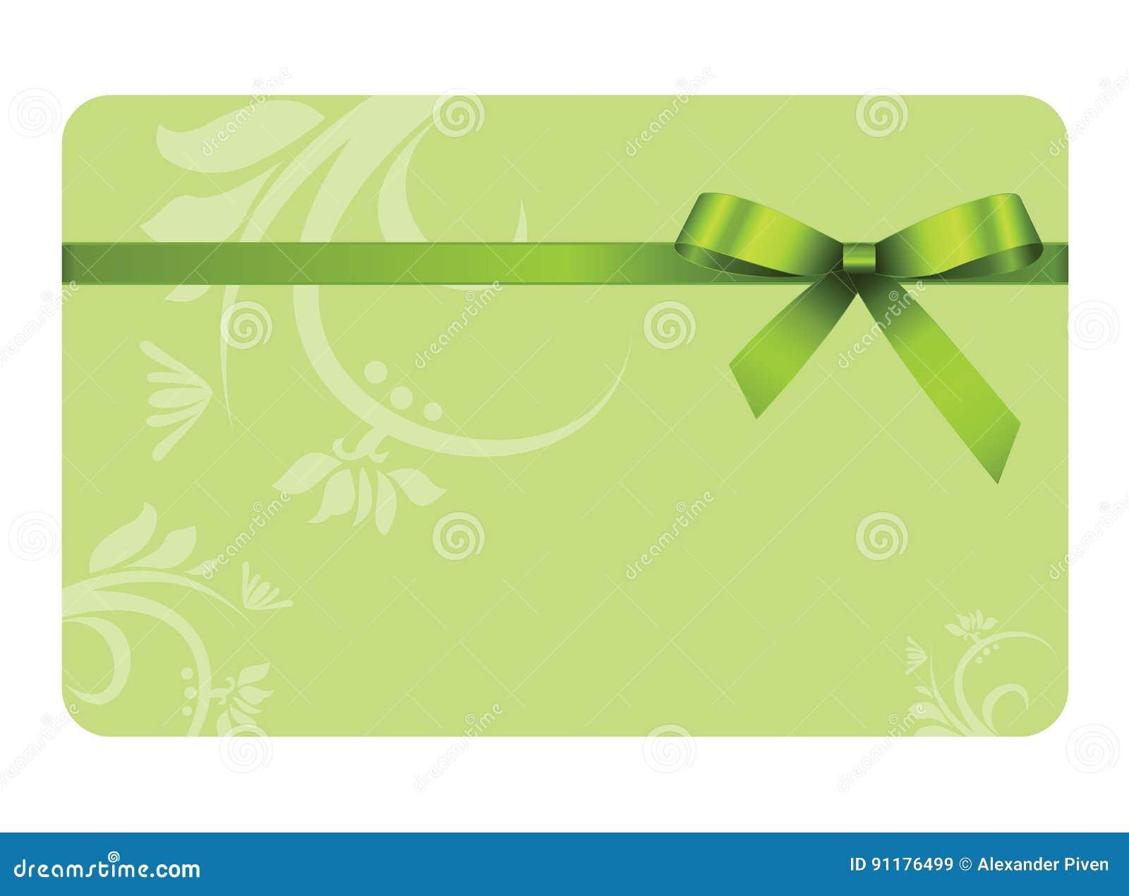 Gutschein Mit Grünem Band Und Einem Bogen Vektor Abbildung ...