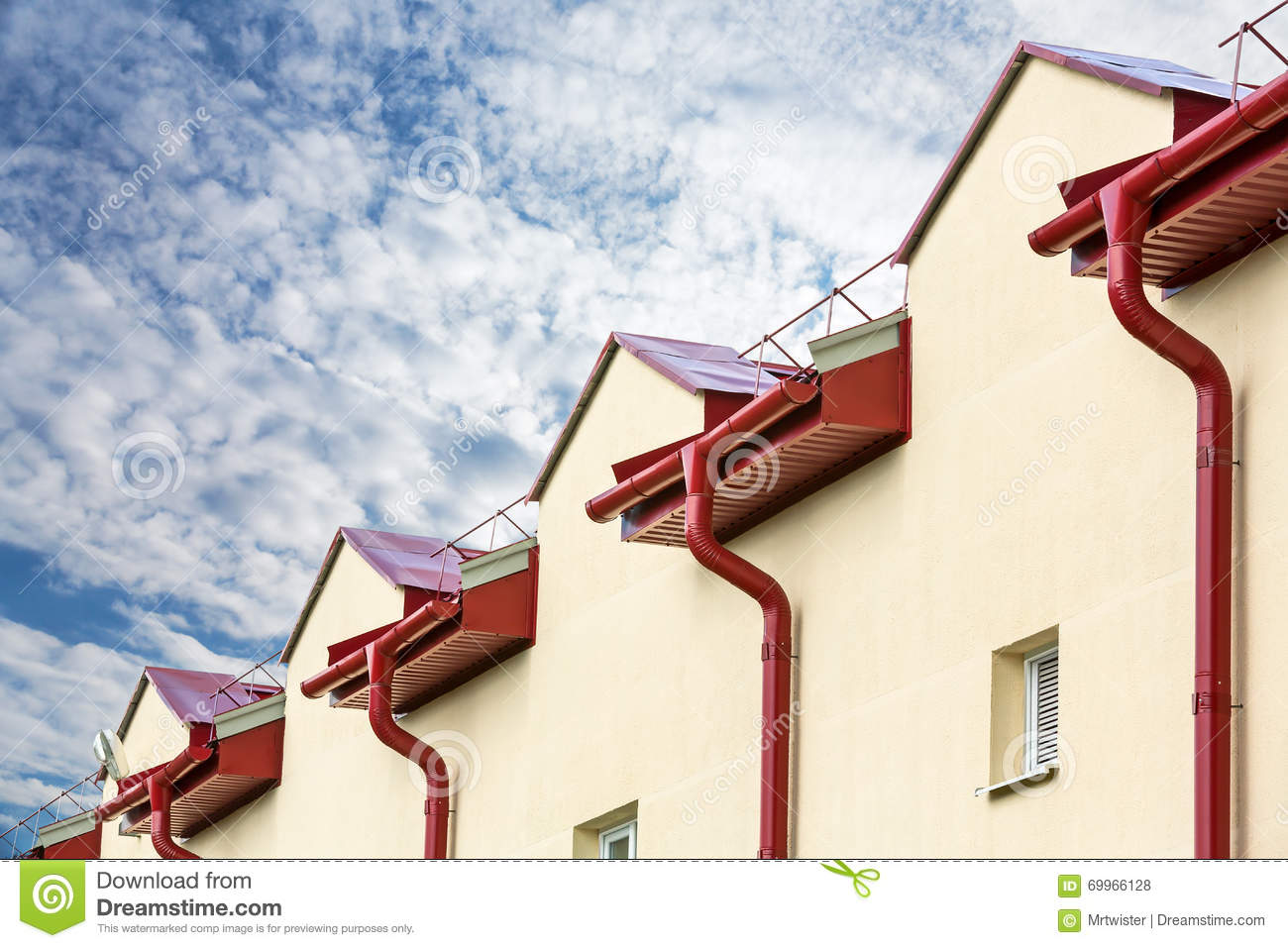 Gutter drainage system on the roof stock photo image for House roof drain pipes