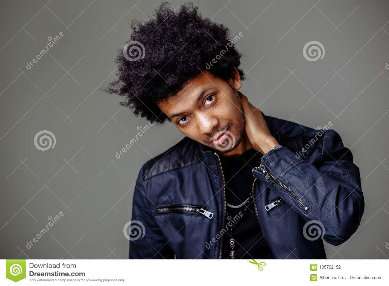 Guy With African Hairstyle And Dark Skin Looking Cheerfully ...