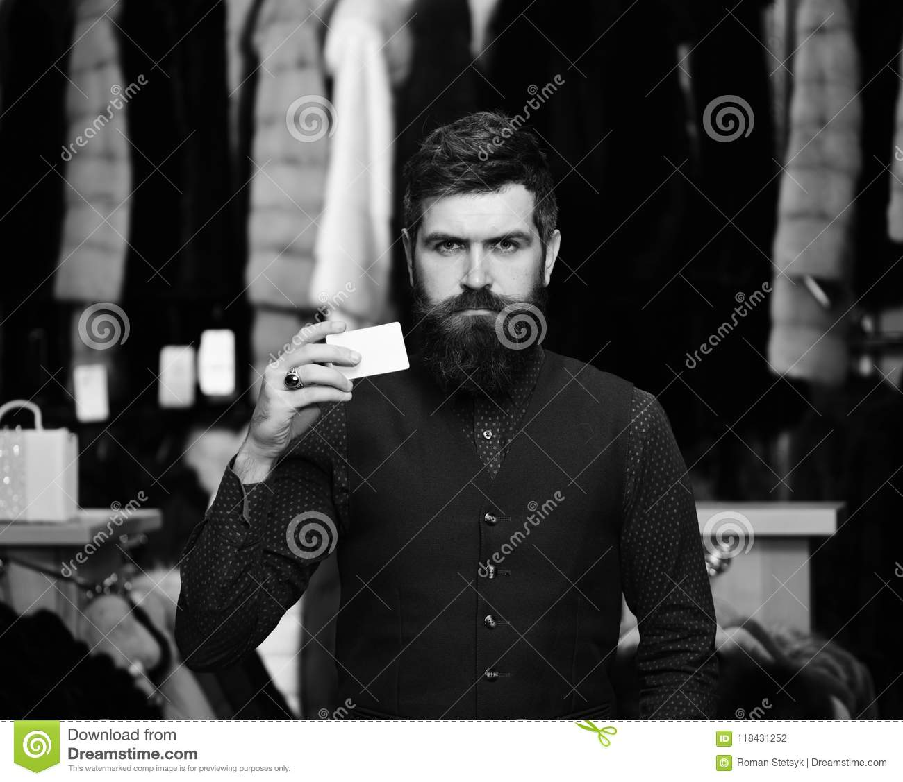 Guy with beard and business card businessman with empty paper stock download guy with beard and business card businessman with empty paper stock photo image colourmoves