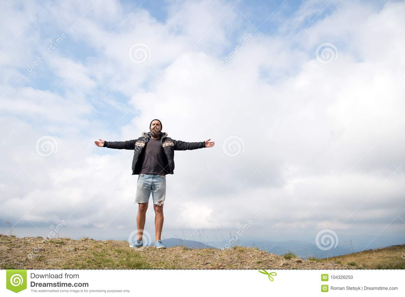 guy or bearded man at cold weather stock photo image of active