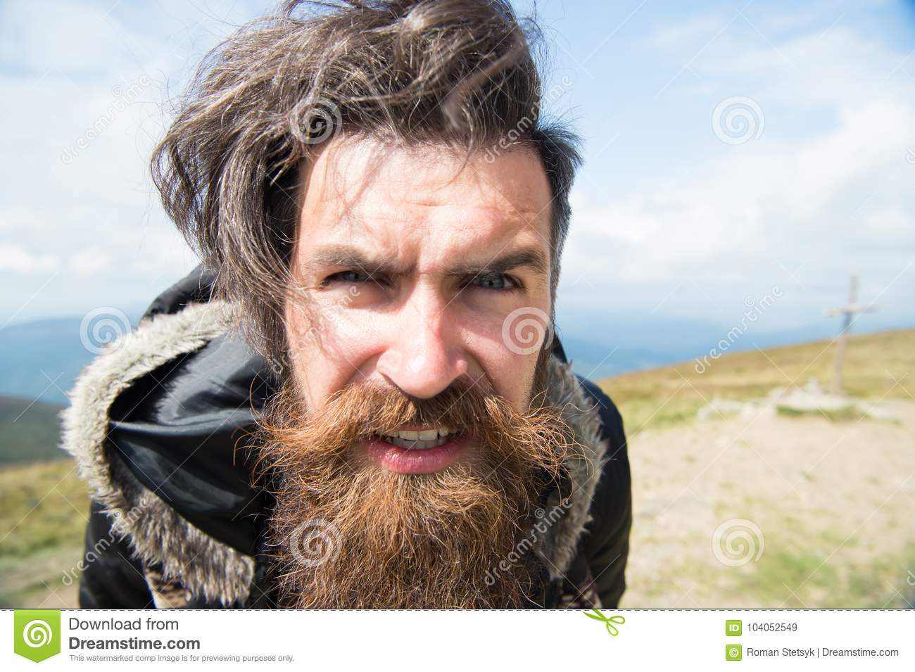 guy or bearded man at cold weather stock image image of handsome