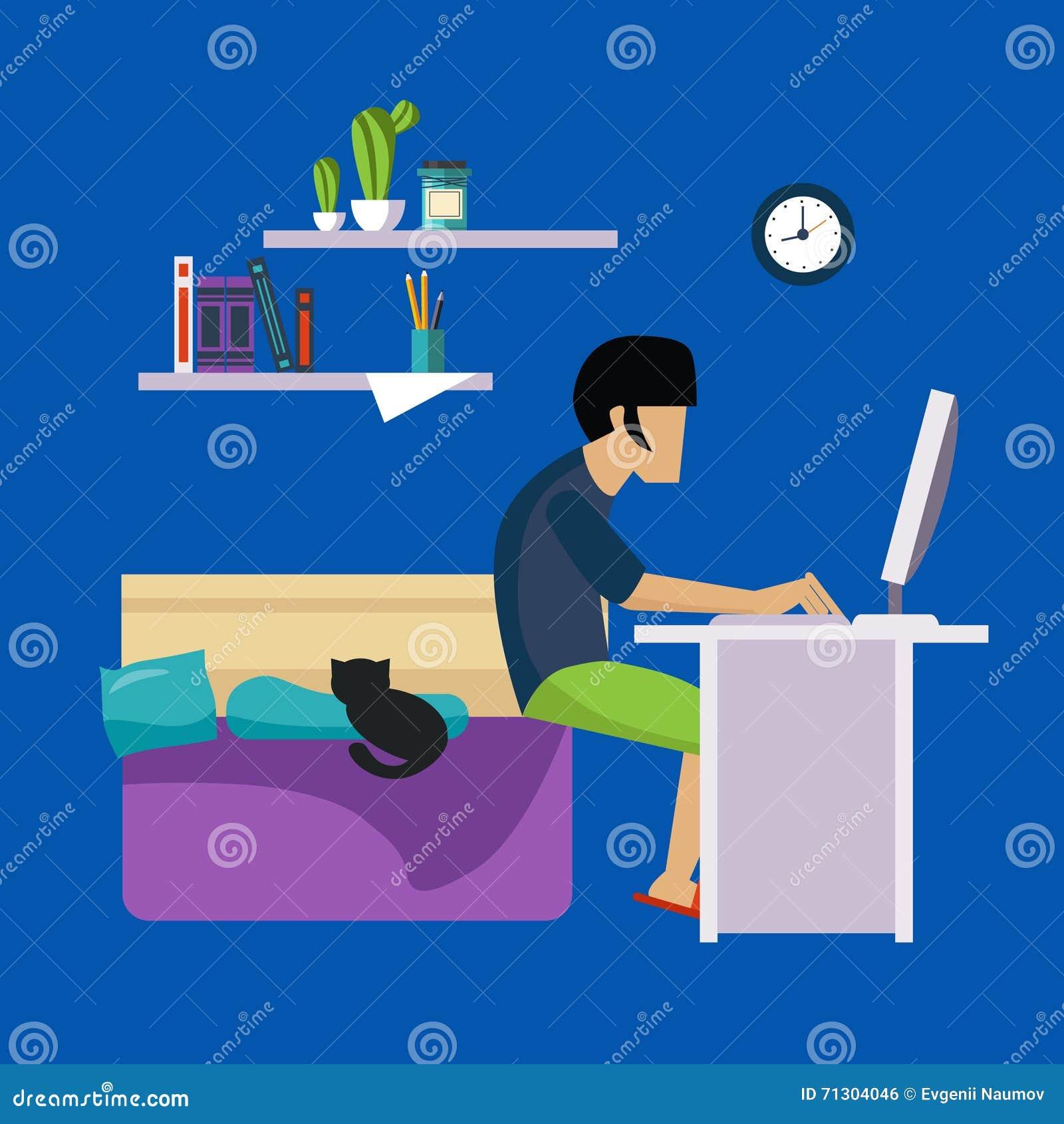Guy In Bedroom Working Freelance
