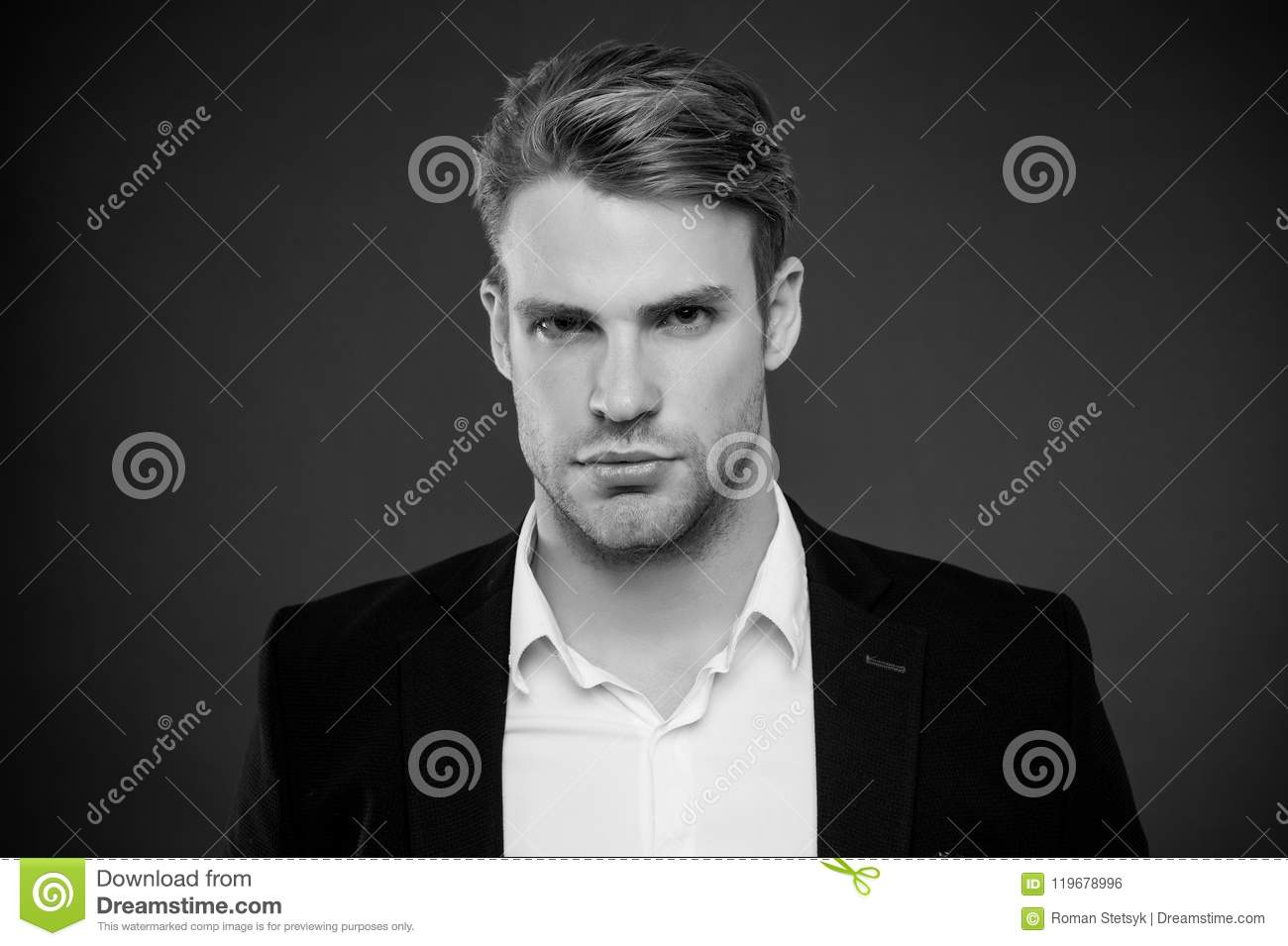 Guy confident in his appearance. Confidence and masculinity. Man well groomed with bristle and hairstyle grey background
