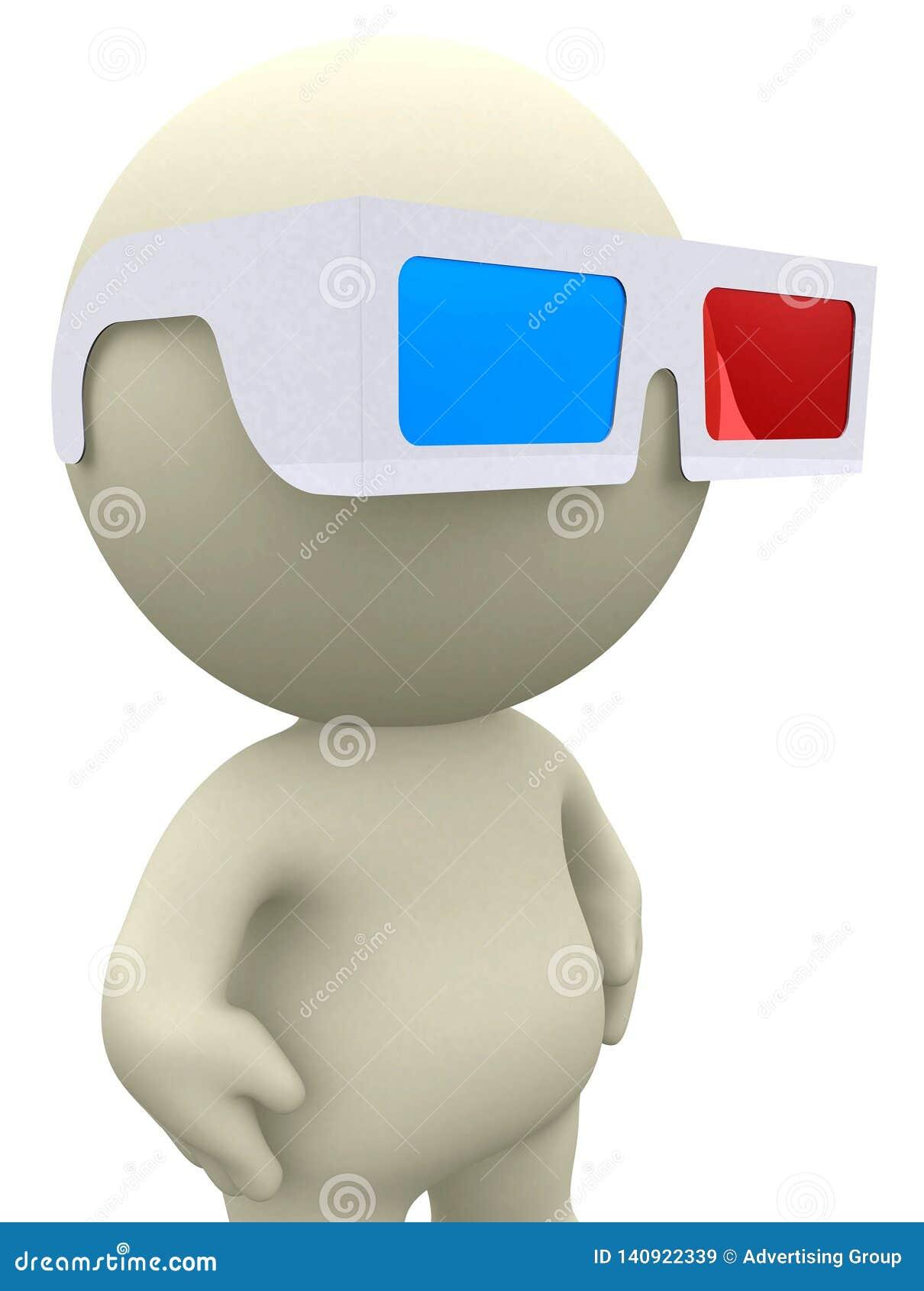 Guy with 3D glasses, 3D illustration, 3D render