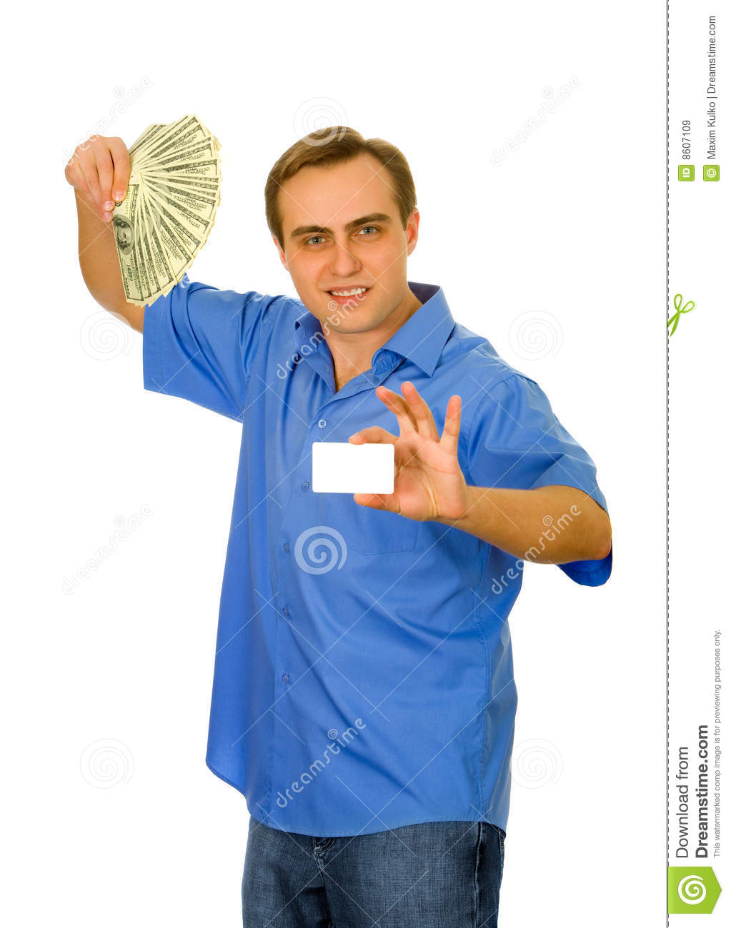 Guy with fan of dollars and a business card stock image image of guy with fan of dollars and a business card colourmoves