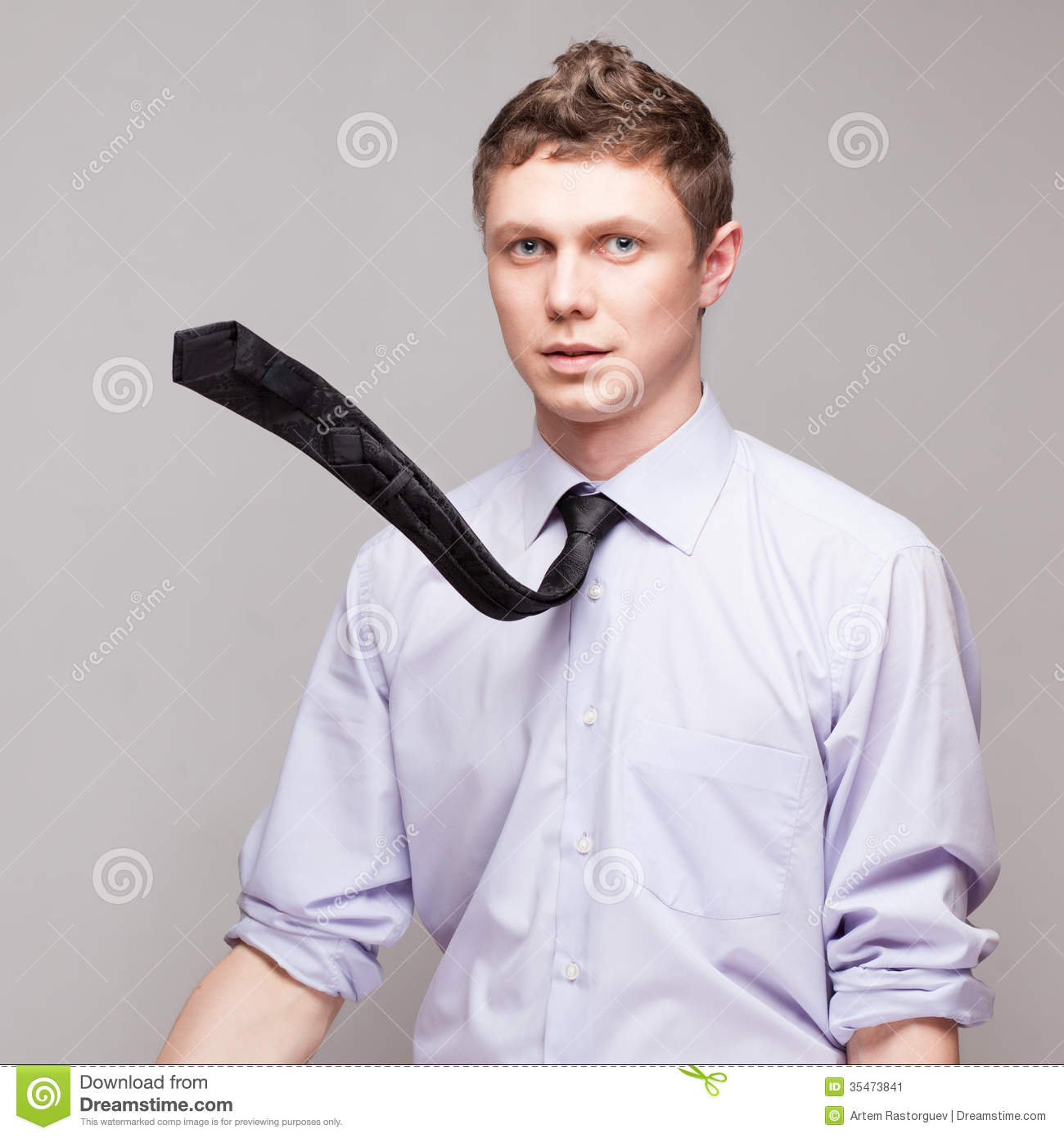 Guy With Flying Tie Stock Image Image 35473841