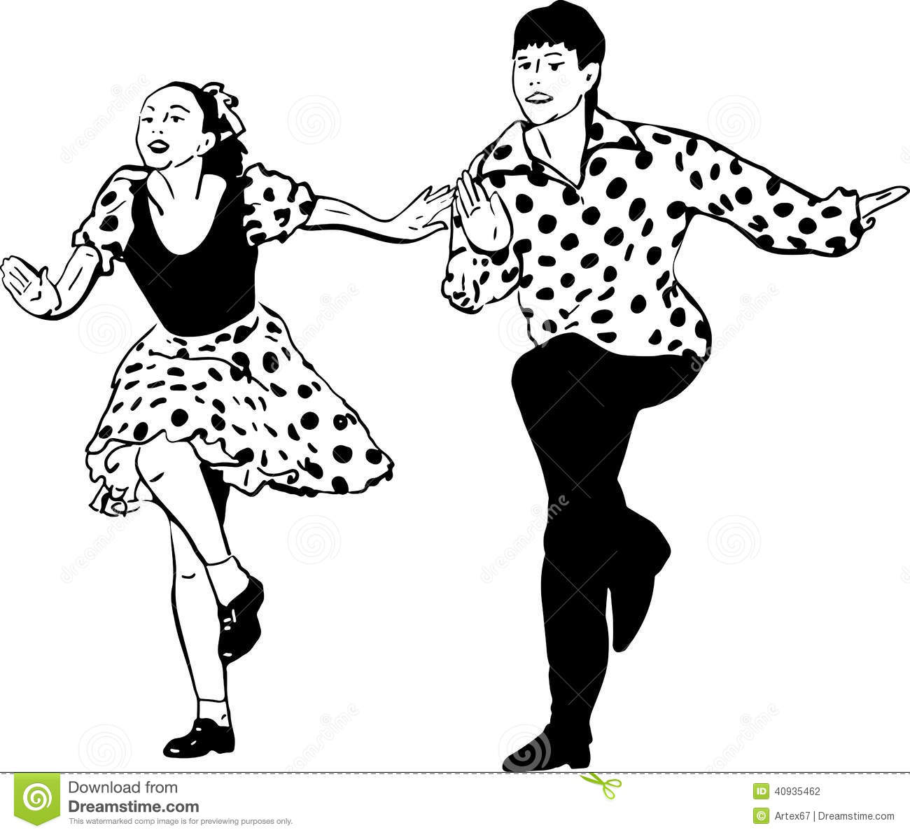 Guy With A Girl Dancing Rock And Roll Stock Vector - Image: 40935462