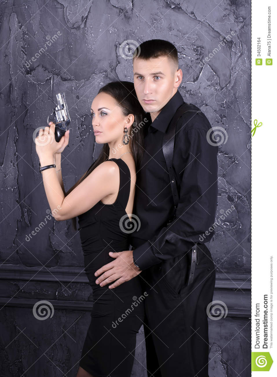 Girl Guy Makeup Youtube: Guy And A Girl With A Gun Stock Images