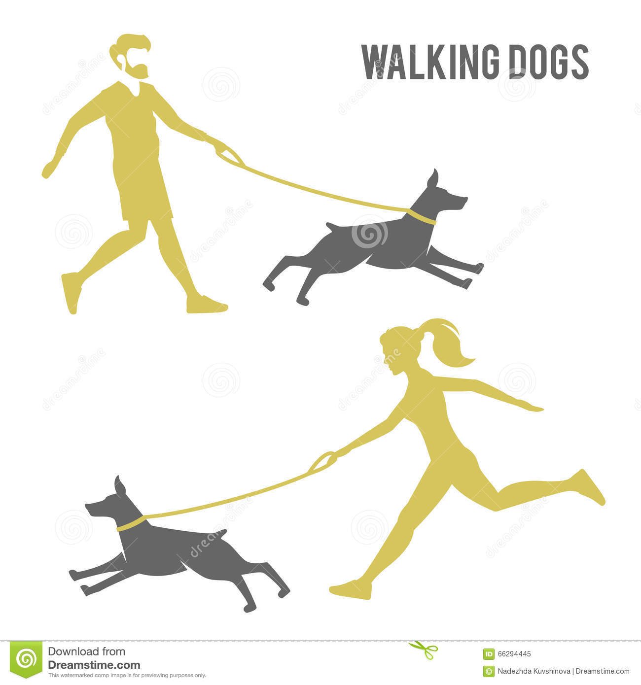 logo design for dog walking or training stock vector image  the guy and the girl walking a dog royalty stock photo