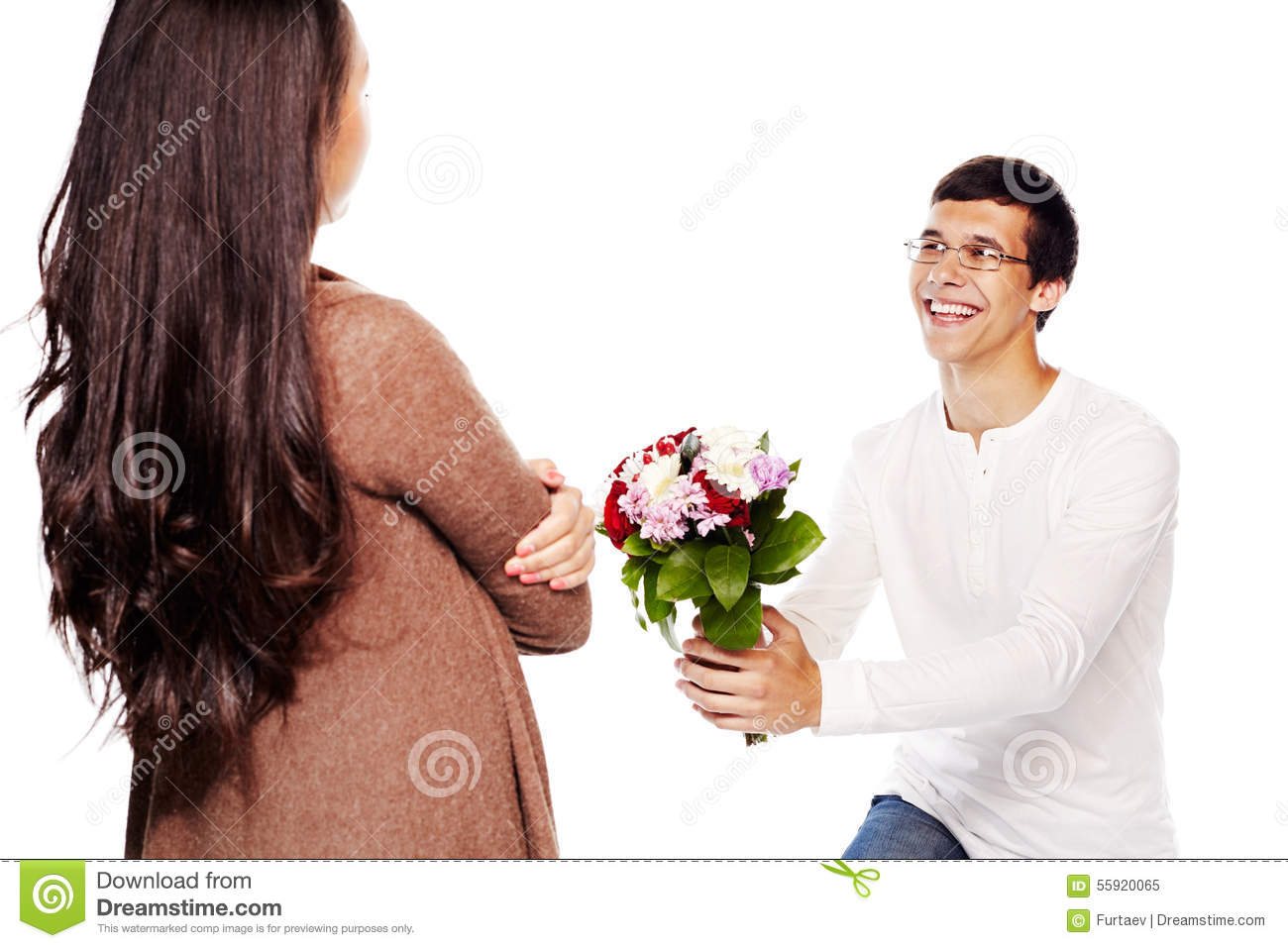 Guy Gives Flowers To Girl