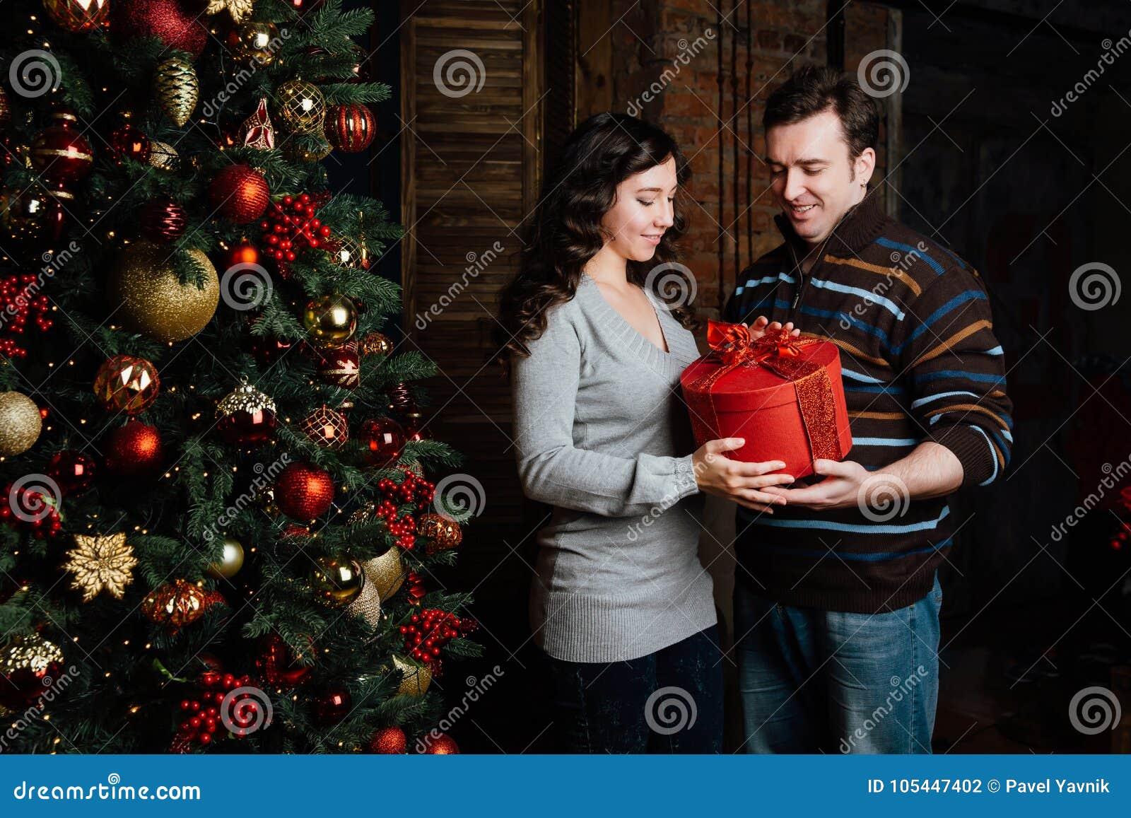Merry Christmas. Young Couple Celebrating Christmas At Home Stock ...