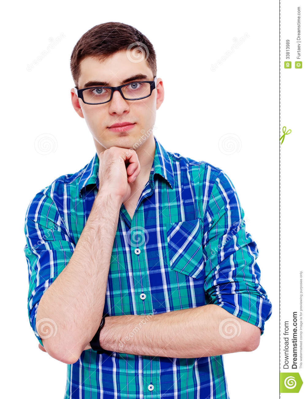 Guy In Glasses With Hand On Chin Stock Image Image Of Geek Person