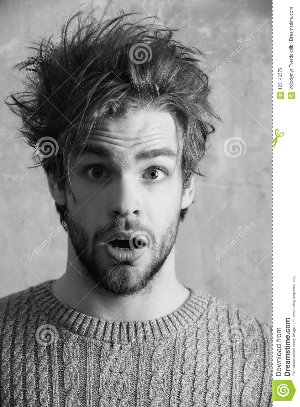 guy or handsome man with stylish haircut and beard stock image