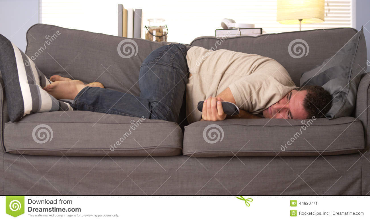 uncomfortable couch. Guy Having Trouble Sleeping Uncomfortable Couch