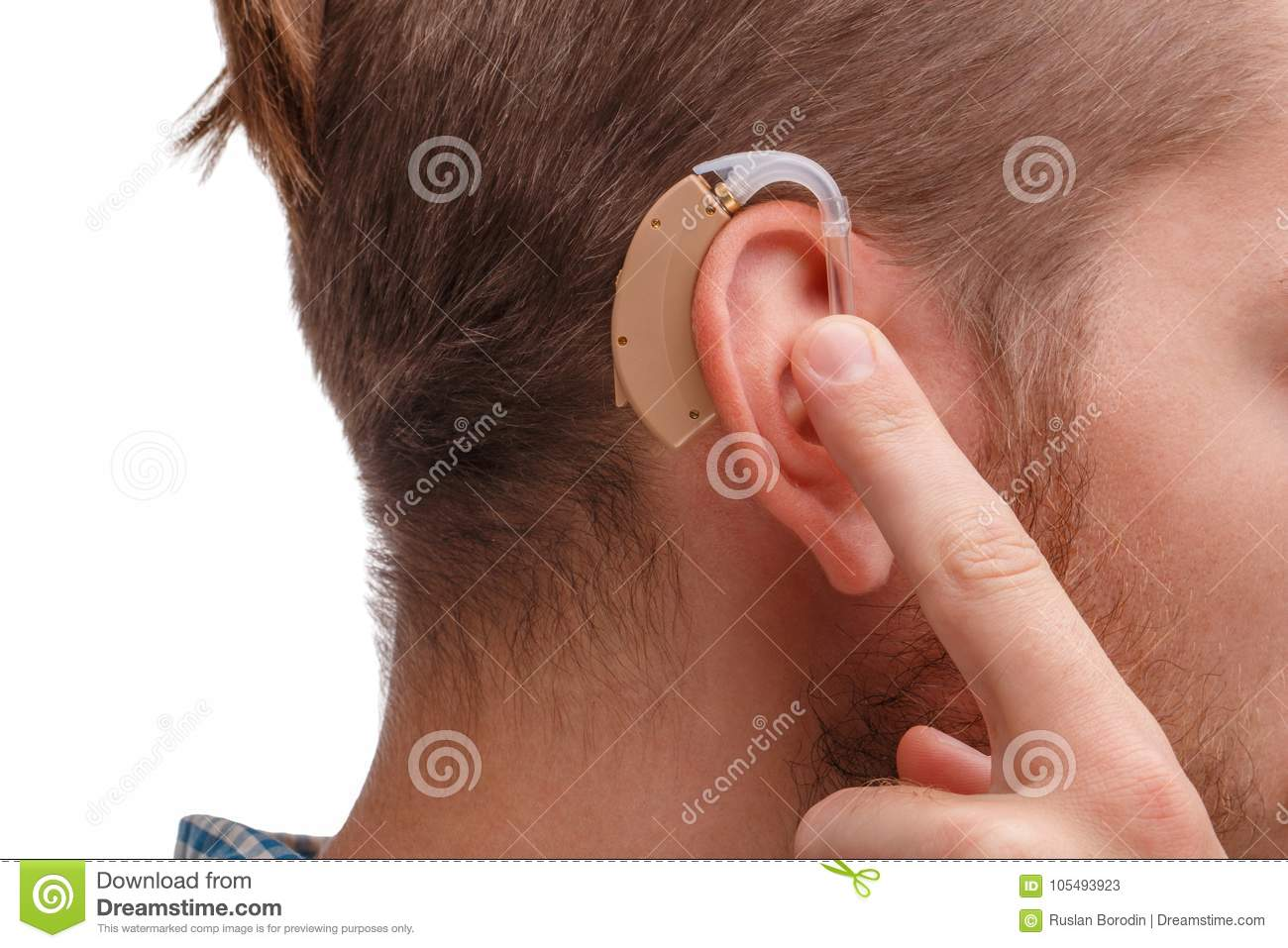 Guy Holds The Finger Of The Hearing Aid On His Ear  Isolated