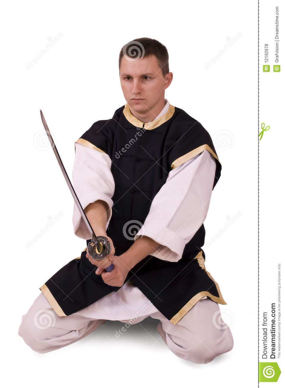 Guy with japanese sword stock photo  Image of male, karate - 12192978