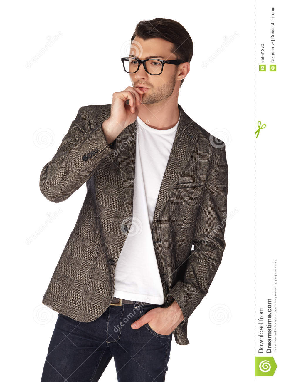 The Guy In Jeans White T-shirt Jacket And Glasses Stock Photo