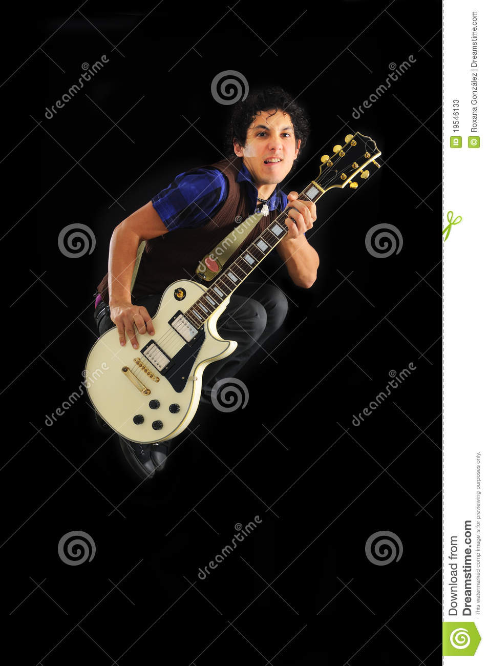 guy jumping with electric guitar isolated stock photos image 19546133. Black Bedroom Furniture Sets. Home Design Ideas