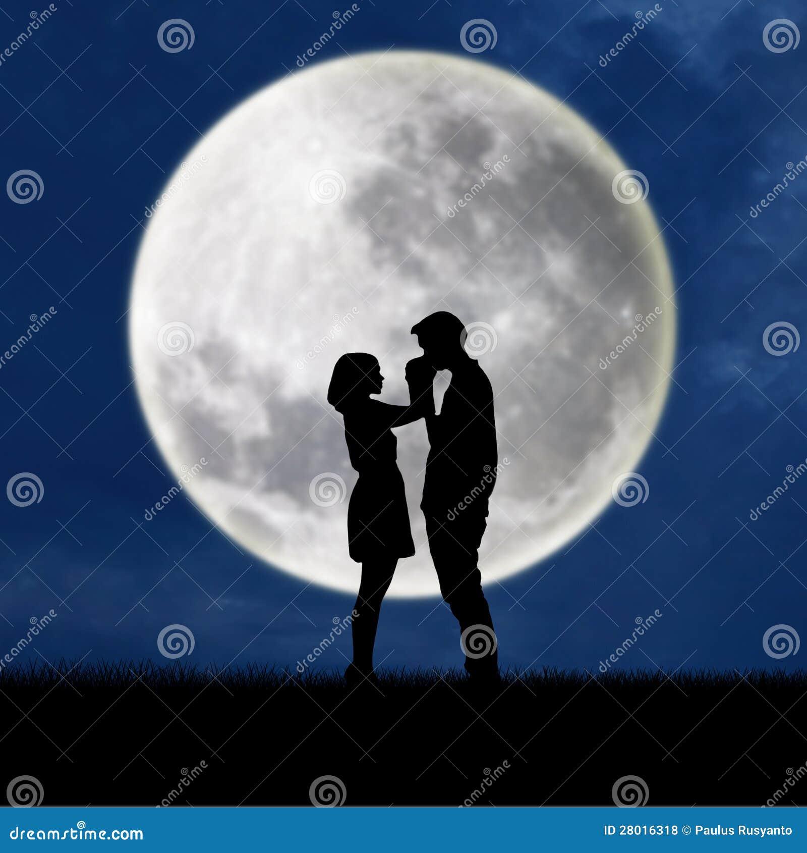 Guy Kiss Girl Hand On Blue Full Moon Background Stock