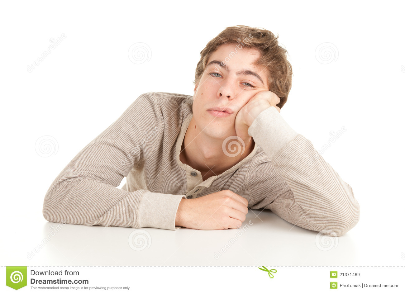 Guy leaning on table stock image. Image of white, tired ...