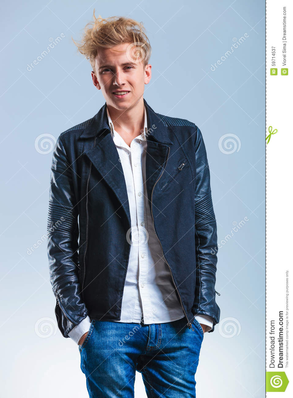 Guy with leather jacket white shirt and hands in pockets for Leather jacket and shirt