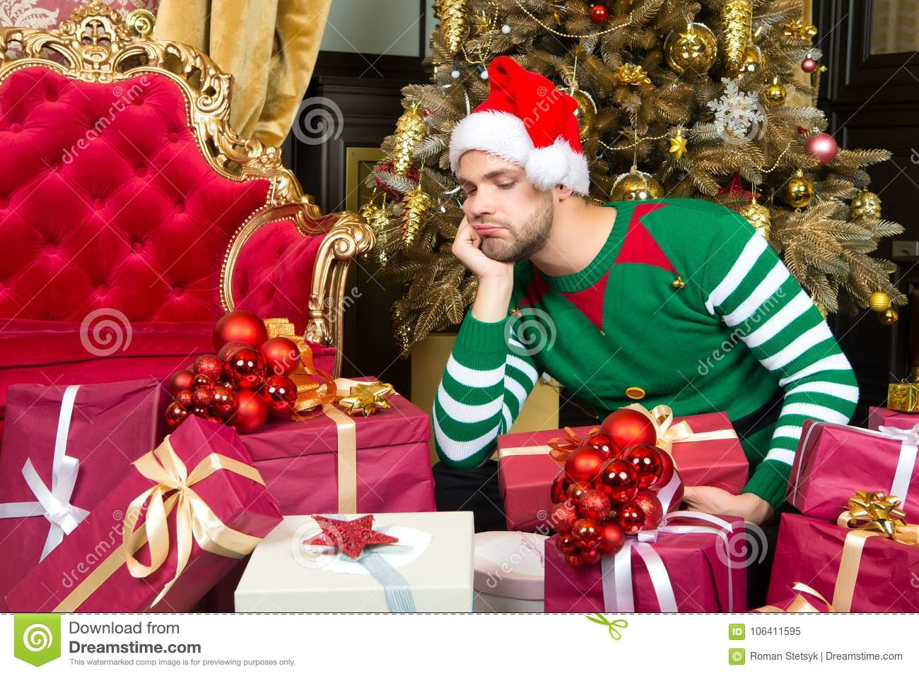 21bffa0c38e72 Guy Look At Present Boxes With Thinking Face Stock Image - Image of ...
