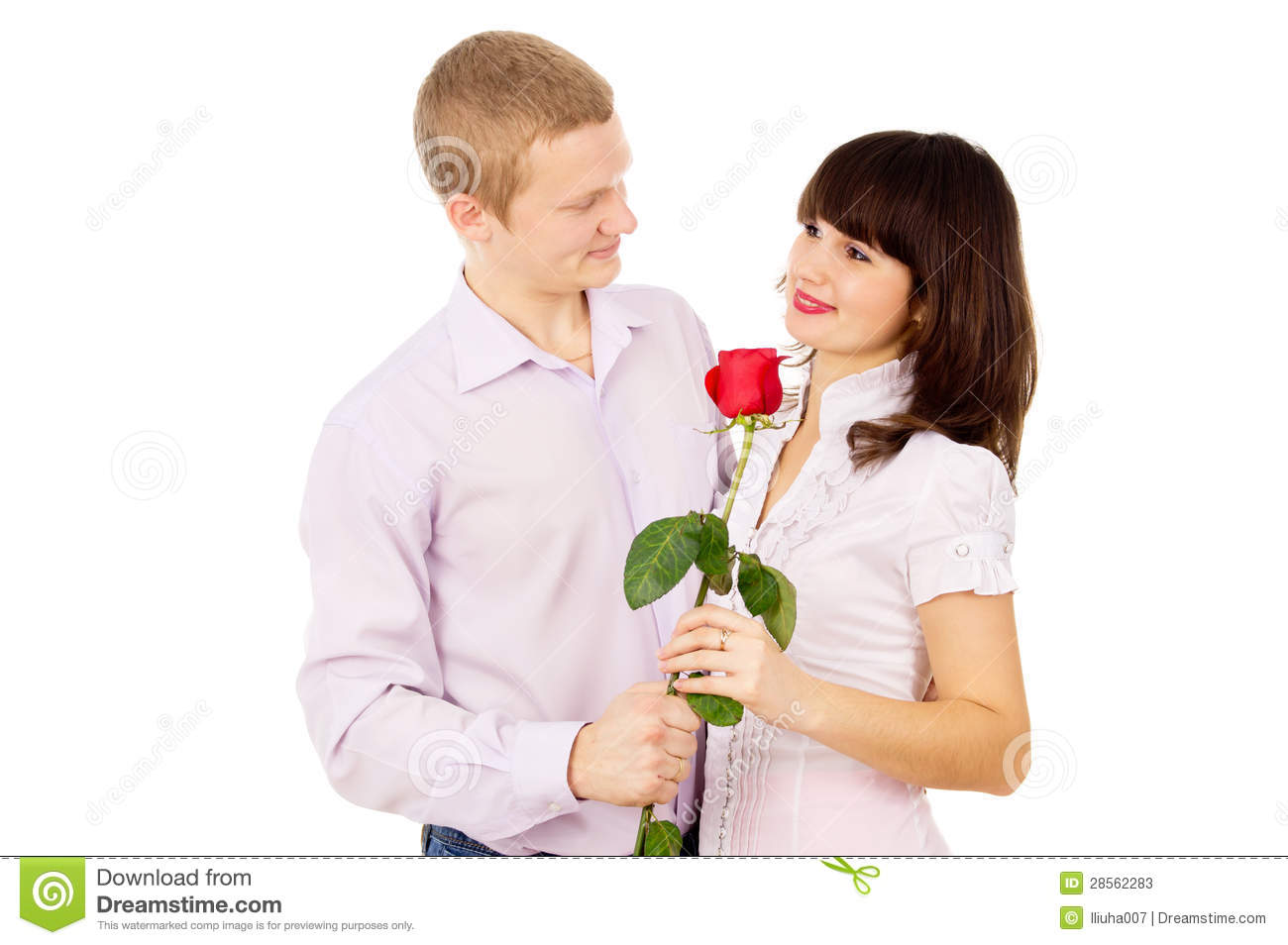 The guy makes a proposal to the girl with the rose stock - Boy propose girl with rose image ...