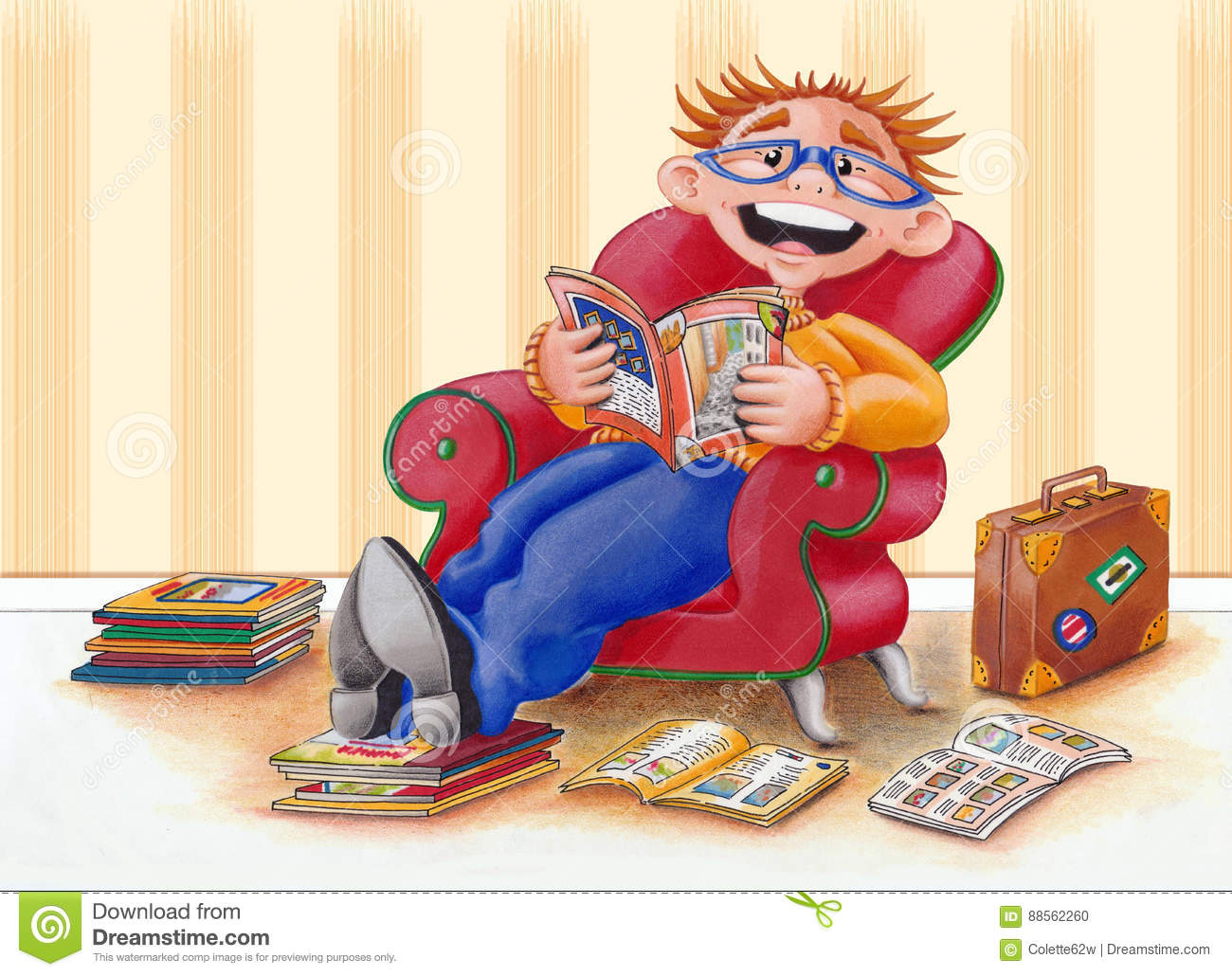 Guy/man Reading Brochures In Easy Chair - Illustration Stock