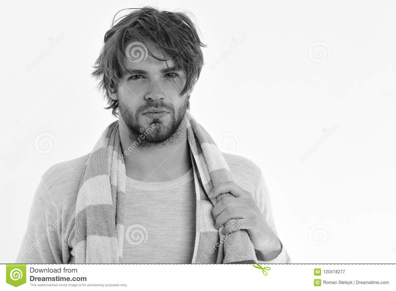 Marvelous Guy With Messy Hair Isolated On White Background Copy Space Stock Schematic Wiring Diagrams Amerangerunnerswayorg