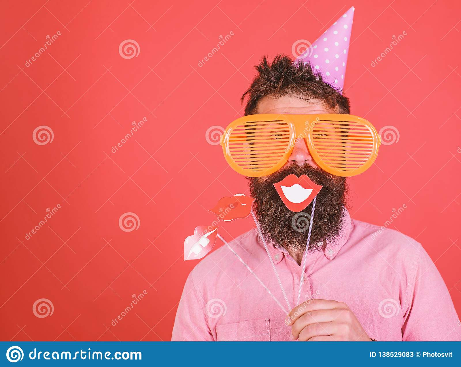 Guy In Party Hat Celebrate, Posing With Photo Props  Hipster