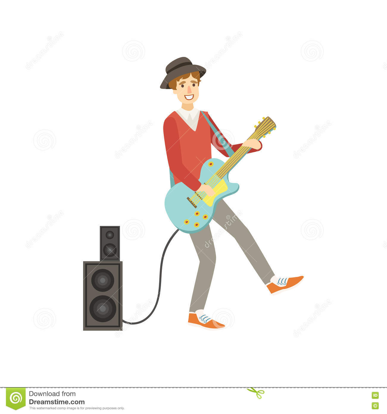 Guy Playing Electro Guitar, Creatief Person Illustration