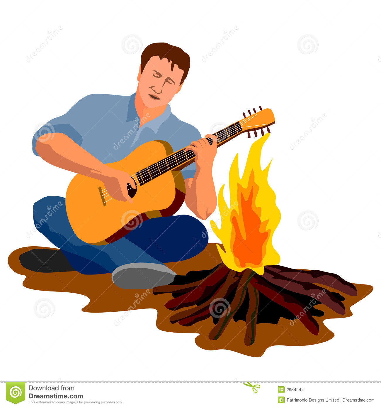 Guy Playing The Guitar... Summer Camp Vector