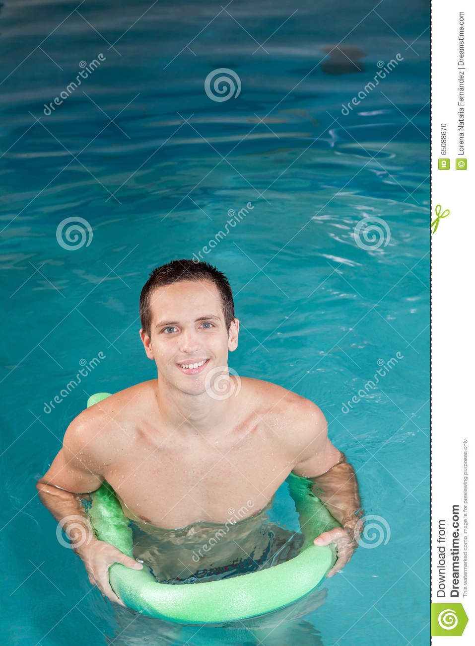 Guy playing inside the pool