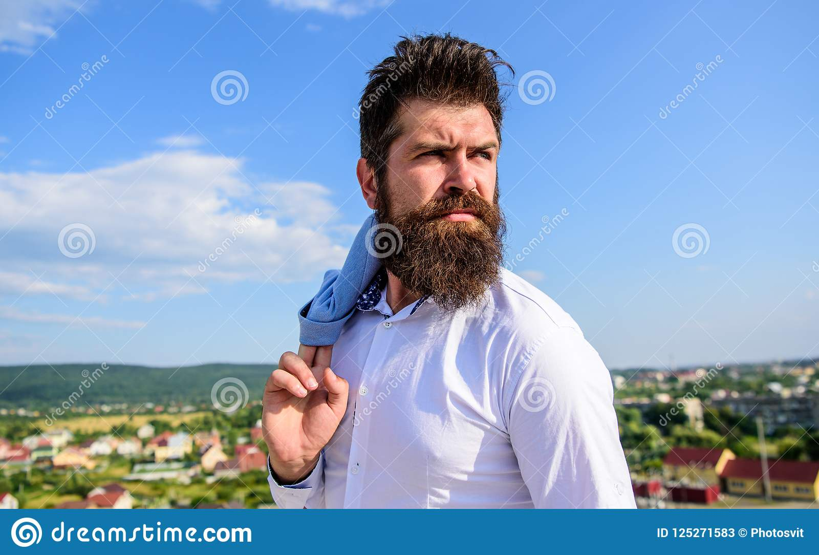 Guy reached top but feel frustrated. Motivation and ambitions concept. Hipster beard mustache looks puzzled frustrated