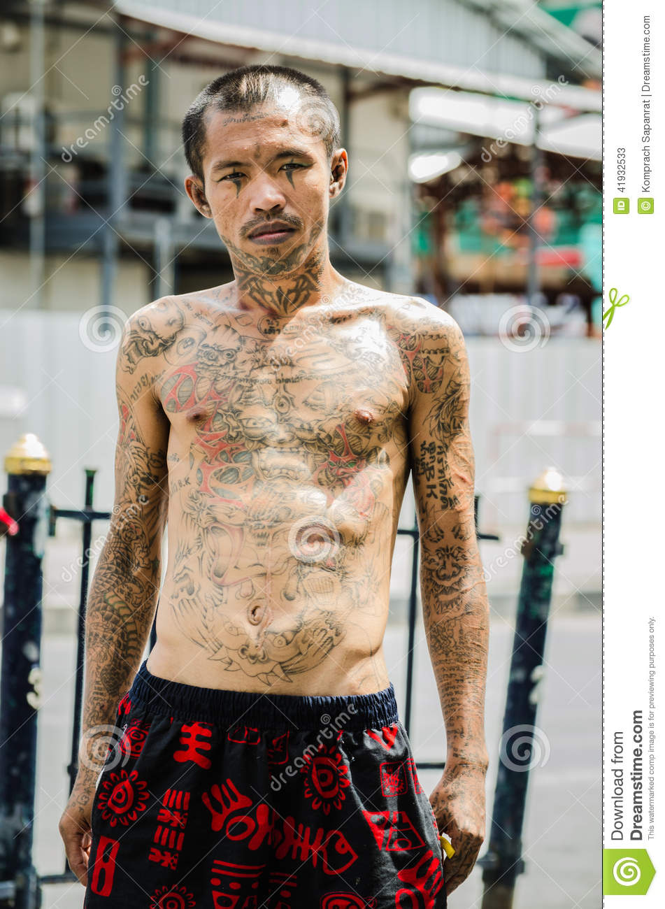 Guy with a tattoo editorial stock photo image of bangkok for Bangkok tattoo prices