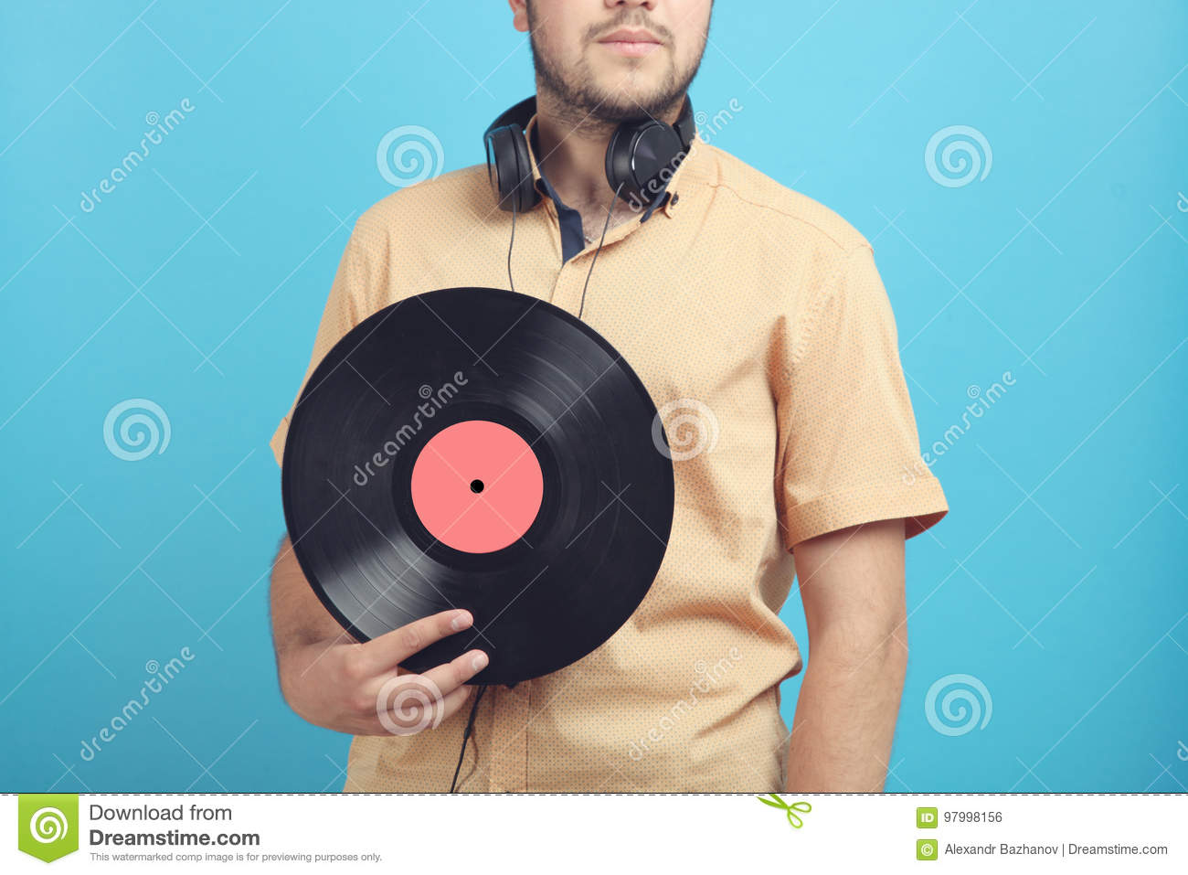 Guy with a vinyl record