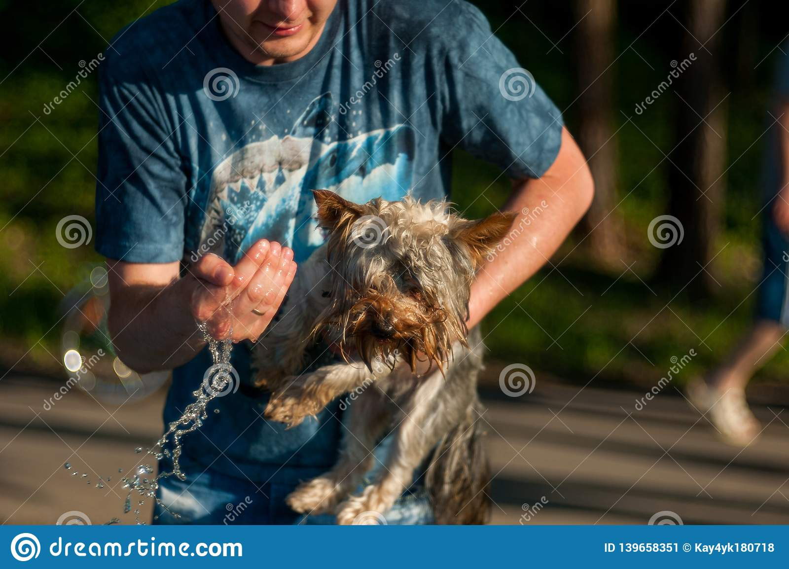 The guy washes the dog with cold water