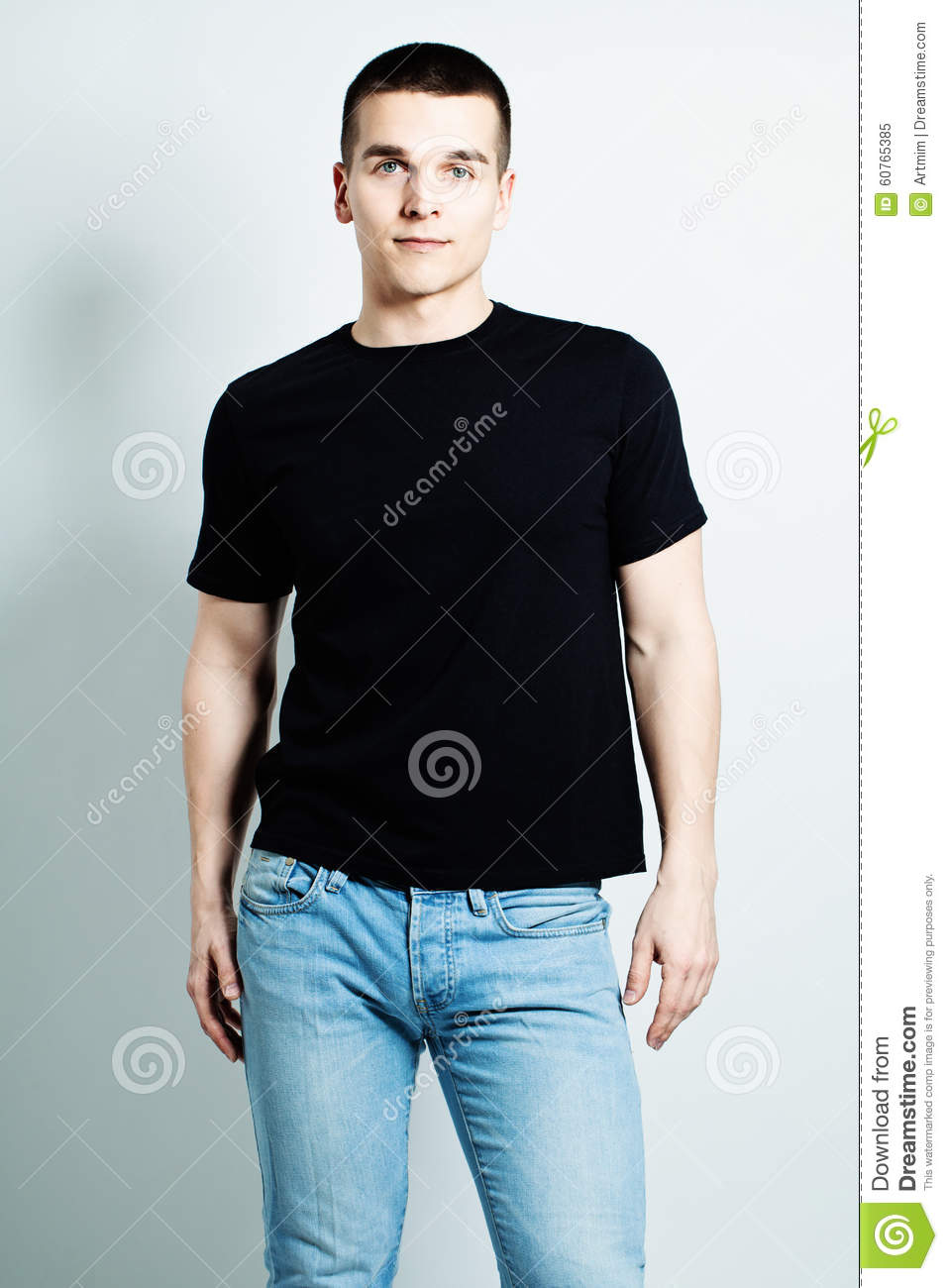 Boy wearing white shirt and black jeans royalty free stock Black shirt blue jeans