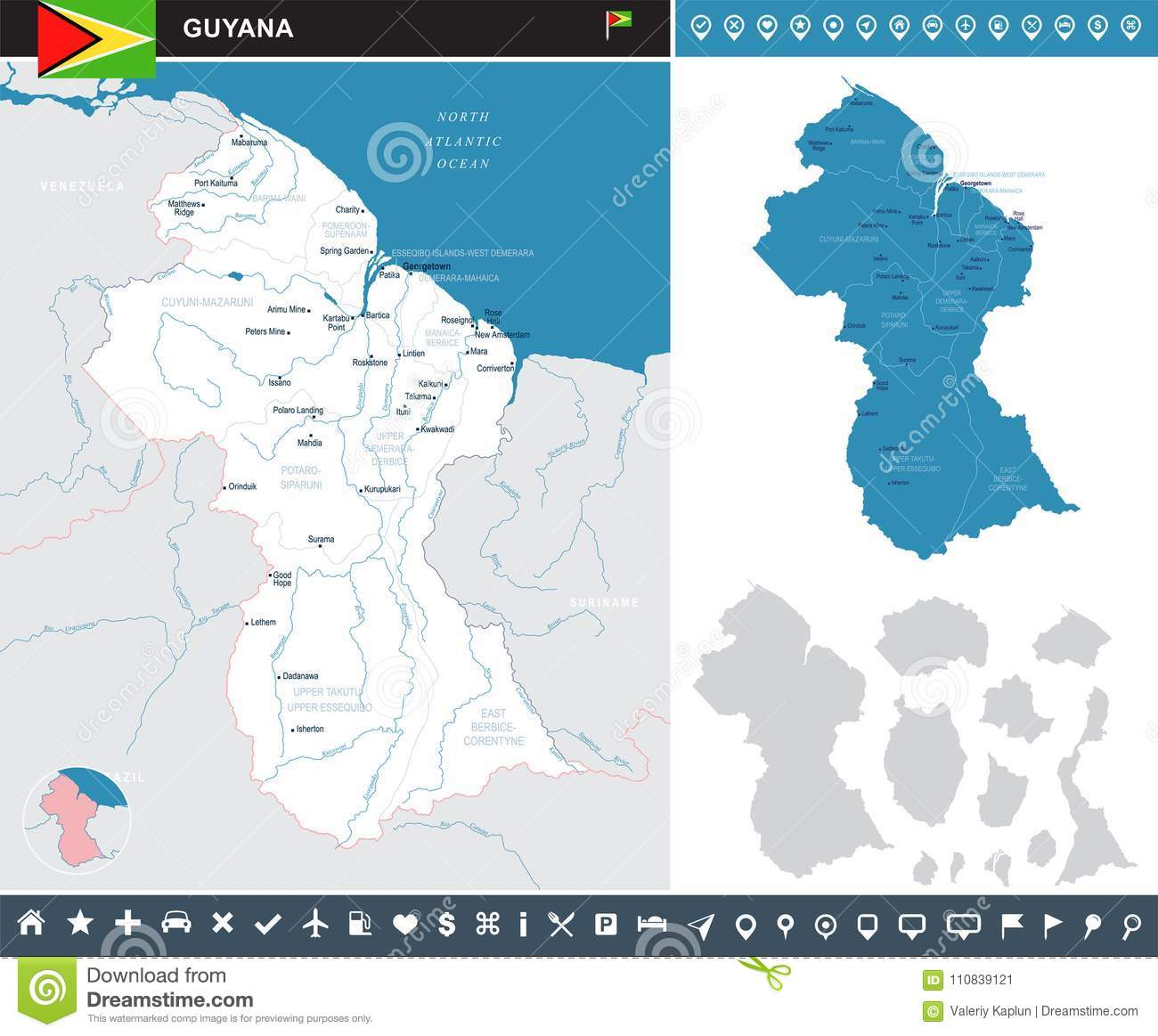 Where Is Guyana Located On The World Map.Guyana Infographic Map Detailed Vector Illustration Stock