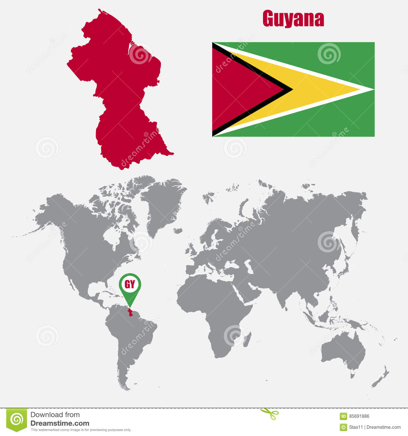 Where Is Guyana Located On The World Map.Guyana Map On A World Map With Flag And Map Pointer Vector