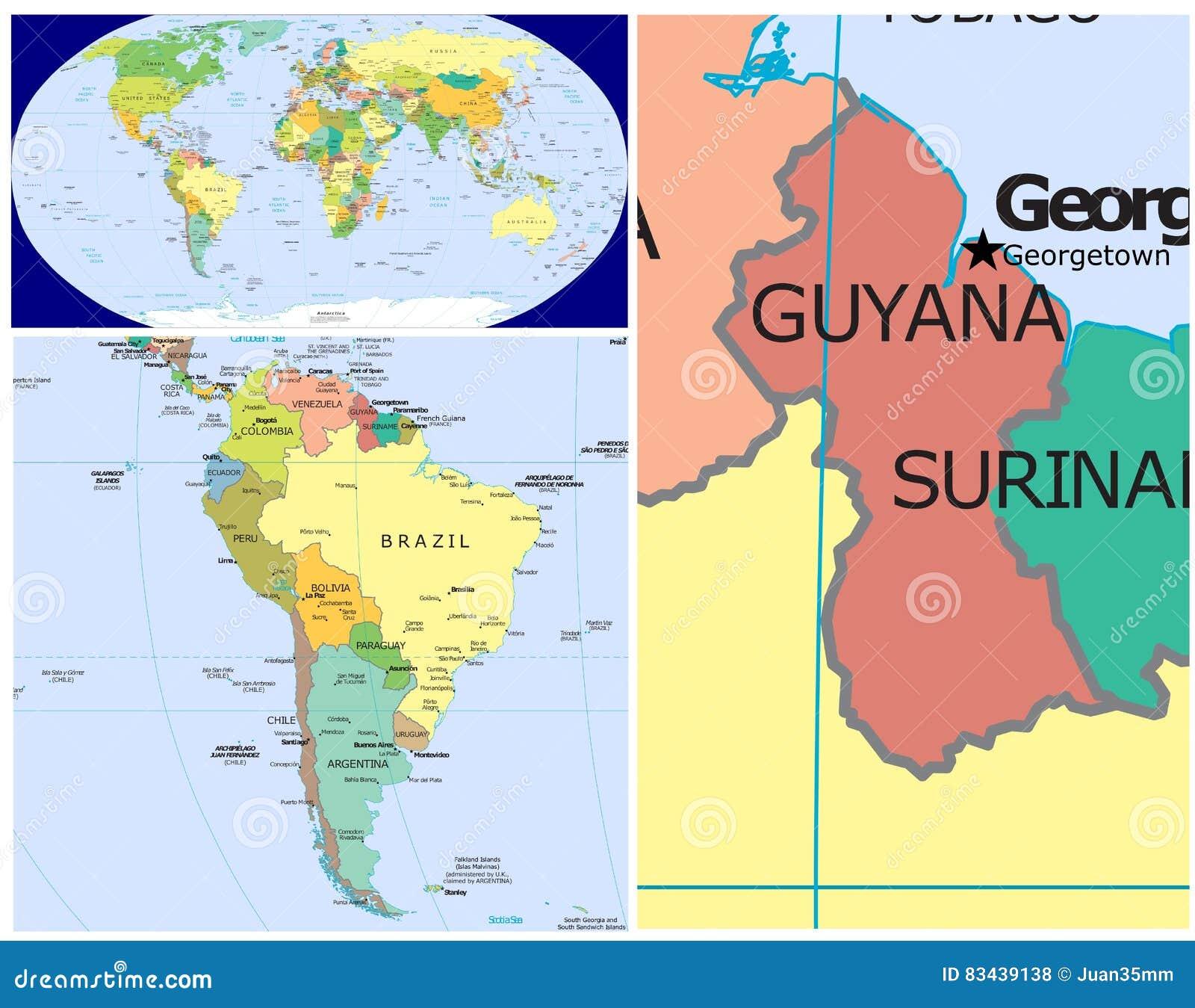 Guyana On World Map Guyana & World stock illustration. Illustration of central   83439138