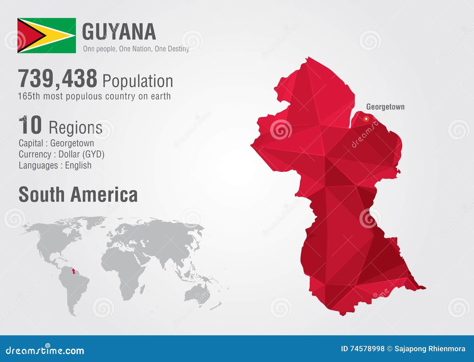 Guyana World Map Polygon With A Diamond Pattern Stock Illustration