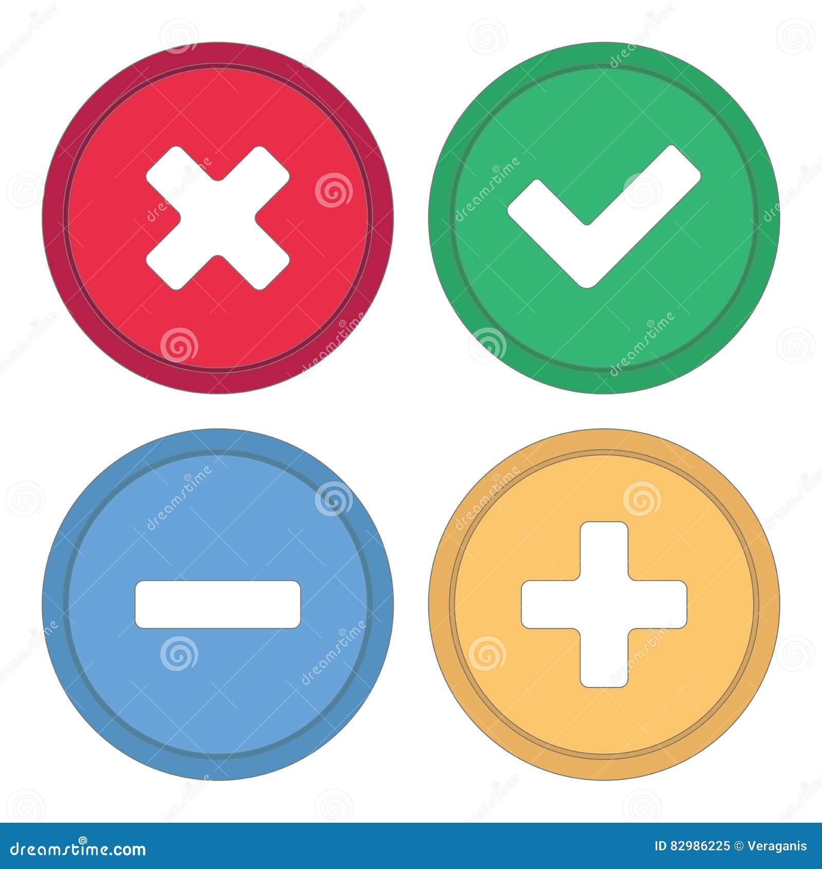 Guzik dla miejsca Znaki plus, checkmark i krzyż, minus,