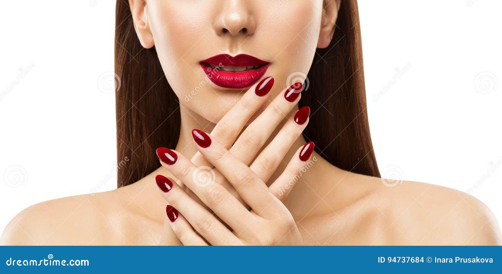 Gwóźdź warg kobiety piękno, Wzorcowy twarzy Makeup, Czerwona pomadka Uzupełniał
