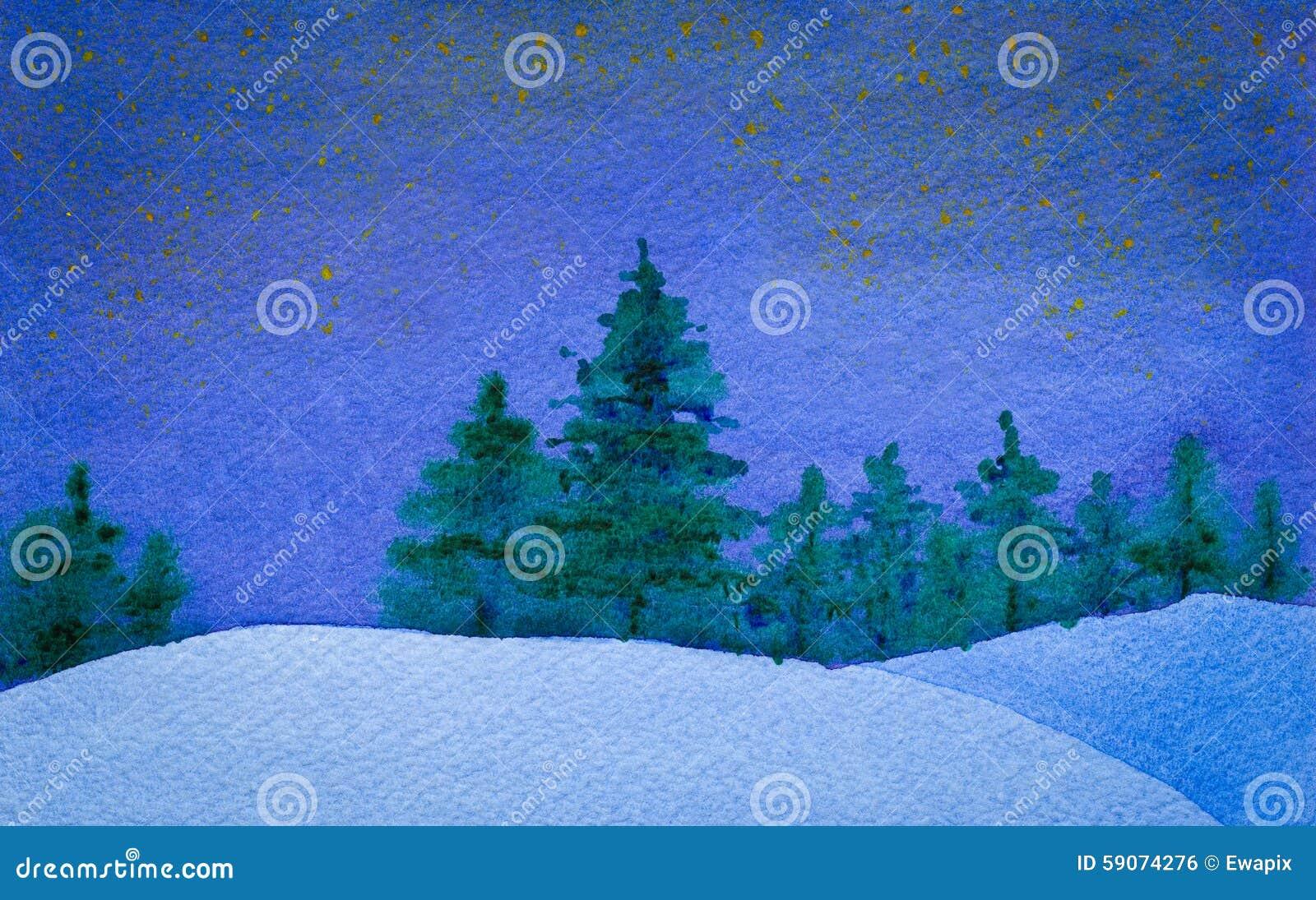 Gwiaździsta i spokojna zimy nocy akwarela