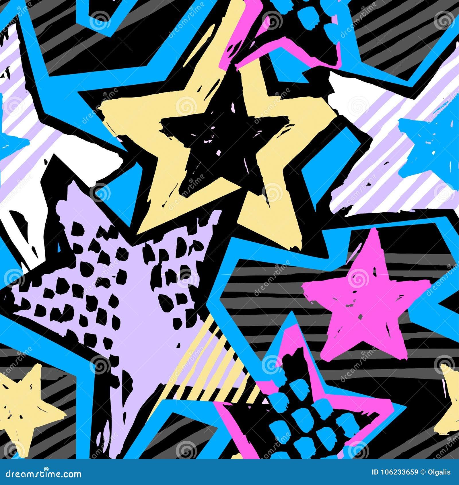 Gwiazda kształtów graffiti ręki bezszwowego rzemiosła atramentu ekspresyjny modniś