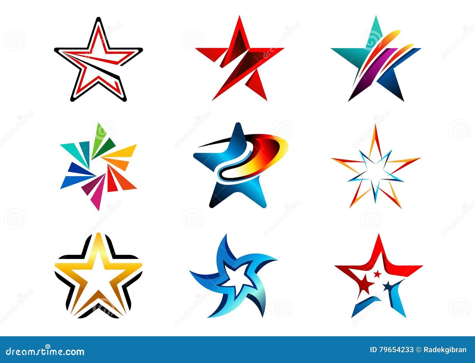 Gwiazda, logo, kreatywnie set abstrakt gra główna rolę logo kolekcję, gra główna rolę symbolu projekta wektorowego element