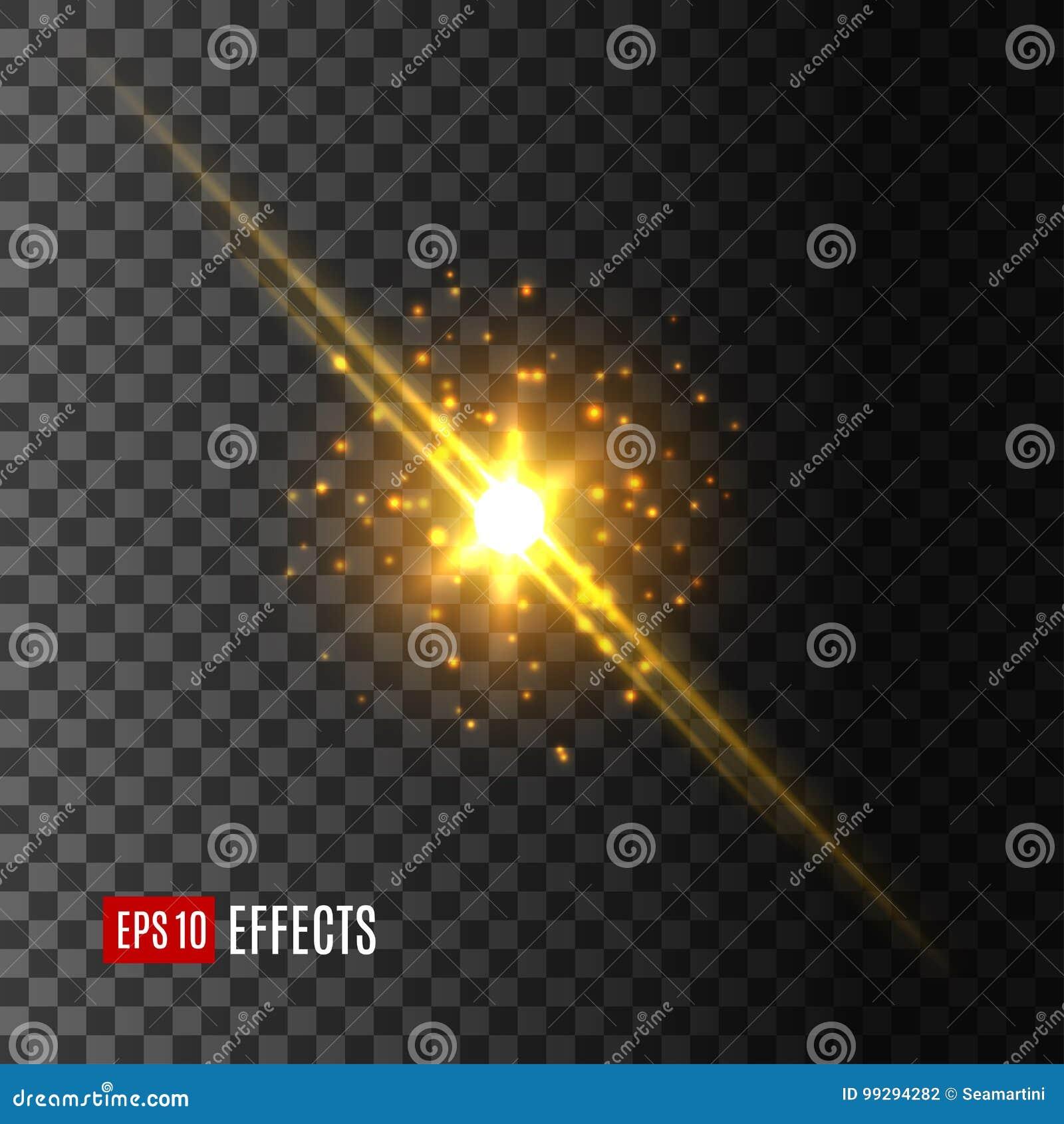 Gwiazdowa światło błysku obiektywu racy skutka wektoru ikona